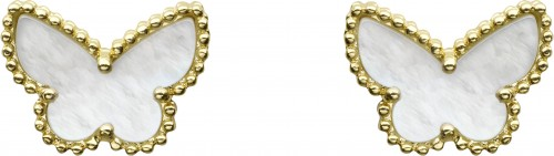 VCARN5JM00_SWEET ALHAMBRA BUTTERFLY EARSTUDS, YELLOW GOLD, WHITE MOTHER-OF-PEARL_615834
