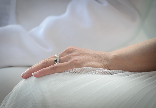 Wedding ring on bride hand