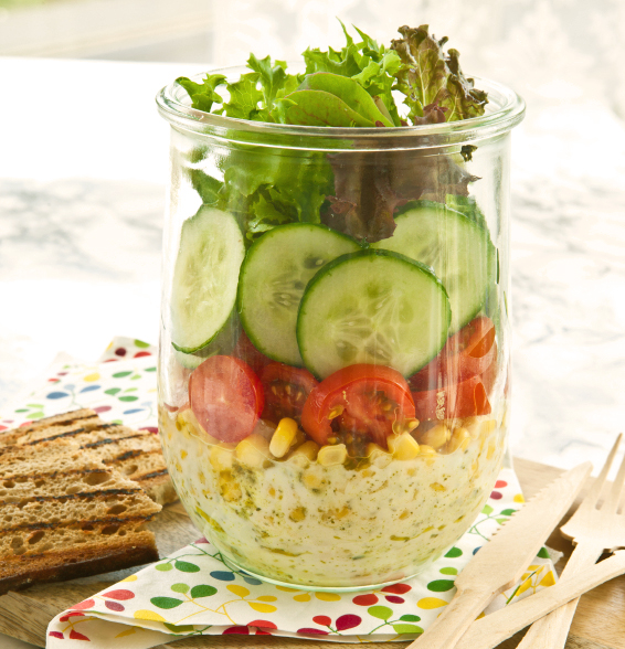 Layer salad in vintage jar