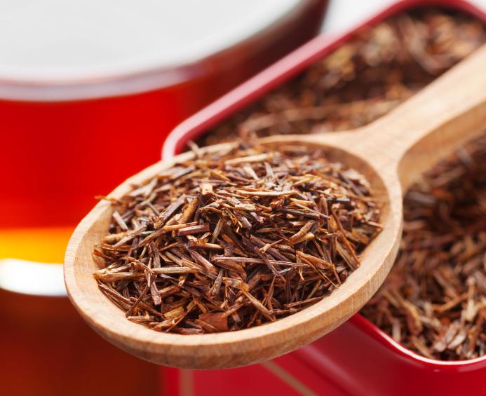 rooibos in tea tin box closeup