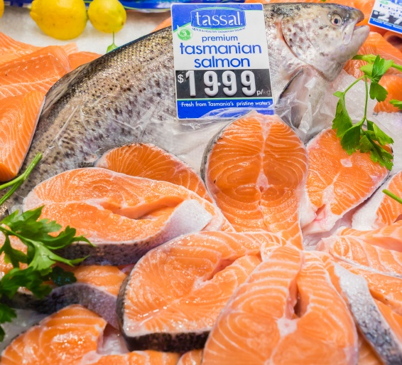 Display of salmon in a shop in Melbourne, Australia